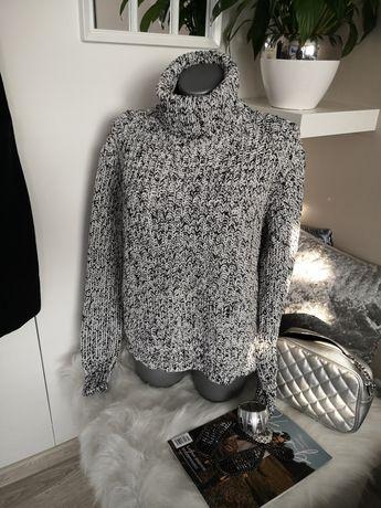 sweter GOLF melanż czarno biały 38 40 42