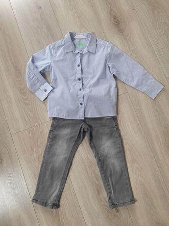 Zestaw: koszula H&M i spodnie dżinsowe C&A rozm.98