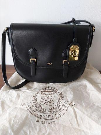 Ekskluzywna torebka RALPH LAUREN czarna torba listonoszka koktajlowa