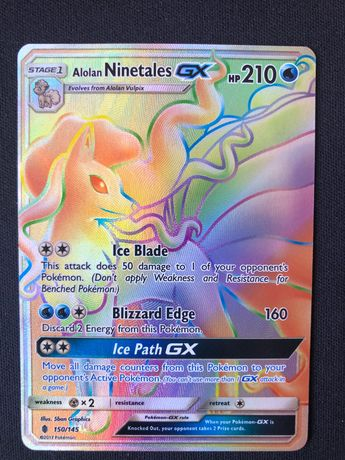 Carta Pokémon Alolan Ninetales GX Full Art Rainbow Rare