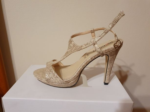 Monnari szpilki sandały złote beżowe 38