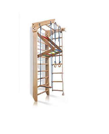 Drabinka gimnastyczna drewanina ColorWood 220 cm + akcesoria