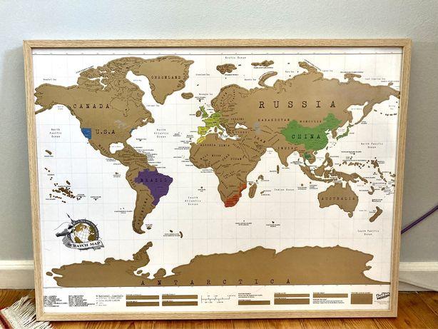 Mapa Mundo - Scracth Map da Luckies - Emoldurado