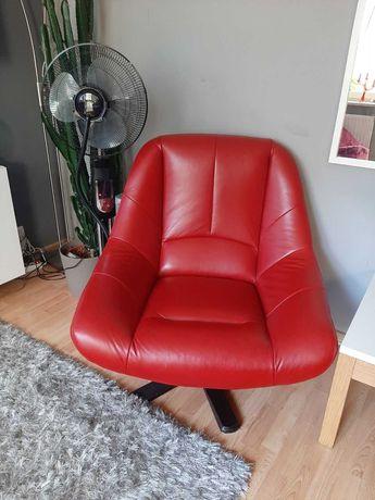 Fotel czerwony skóra, obrotowy
