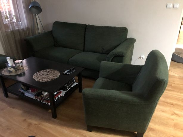 Meble Ikea komplet kanapa 3os + 2 fotele + podnóżek Hensta zielony