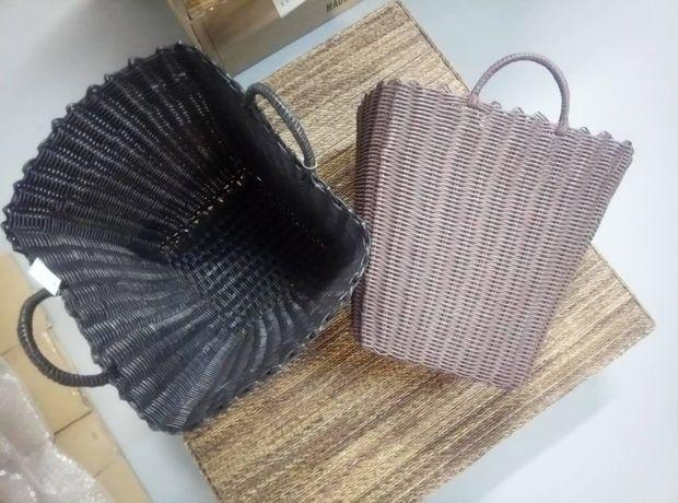 Корзина глубокая коричневая черная для сада для цветов для ванной