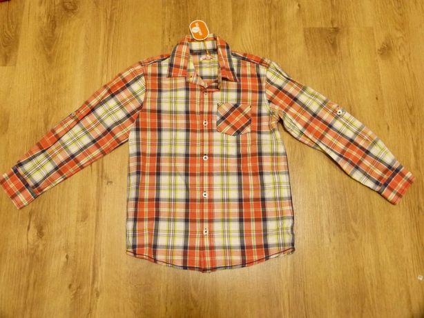 rozm. 134 Nowa Bluezoo koszula kratka pomarańcz chłopięca