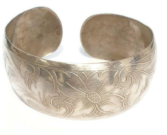 srebro - bransoletka zdobiona 925 18,79g 17,5 uniwersalny h:24mm