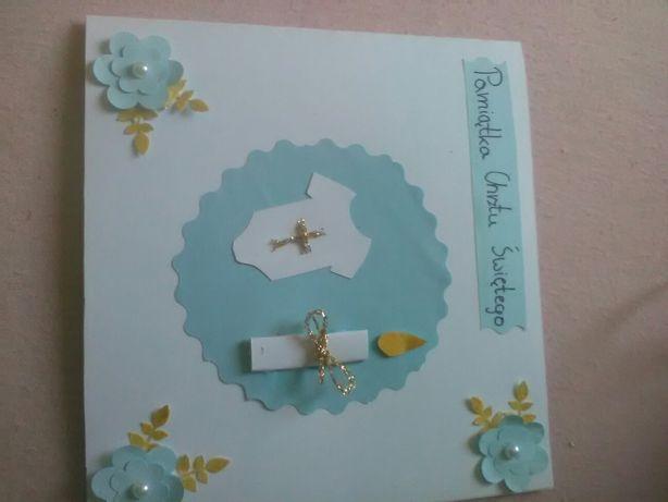 Pamiątka chrztu świętego chrzest chrzciny kartka niebieska dla chłopca