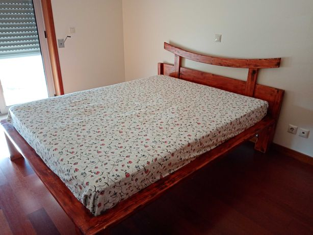 hand made wooden bed