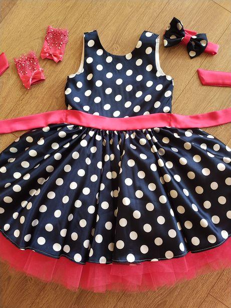 Платье для девочки Стиляга в горошек, рост 128