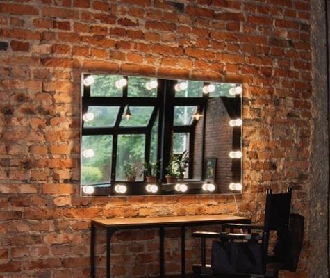 Lustro 120x80 glamour do makijażu wizażu led z zarowkami toaletke