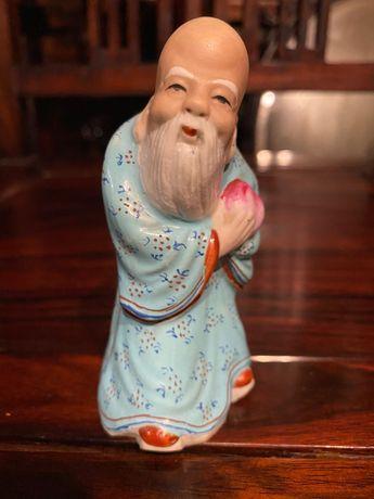 Divindade em porcelana chinesa Antiga 10cm altura