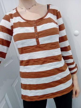 Biało brązowa bluzka w paski rozmiar L 40 1982® guziczki