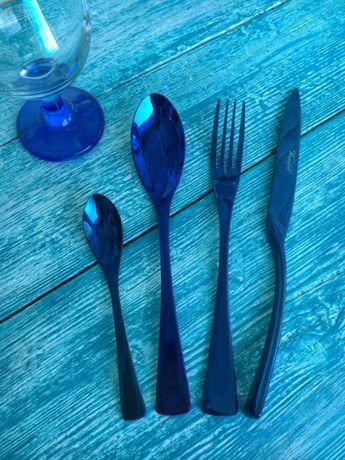 Sztućce niebieskie komplet dla 6 osób