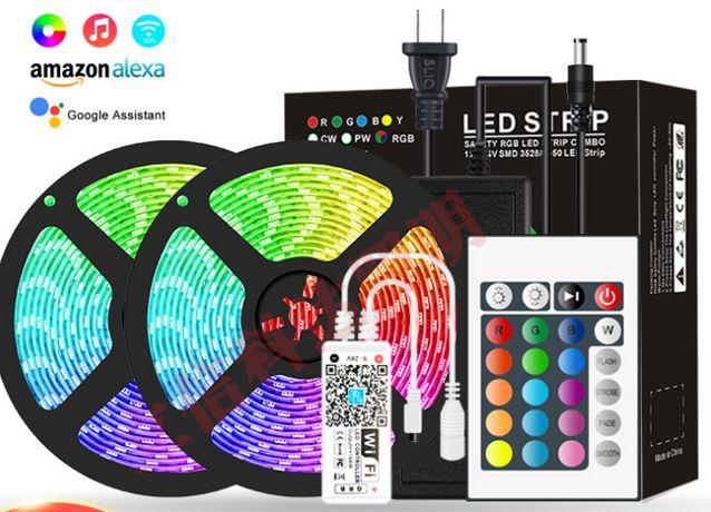 Лента светодиодная RGB 5050 10 м (2по5)или 20 м WI-FI БП 6А +24 кнопки