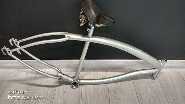 Rama rowerowa cruiser ,miejski srebrna