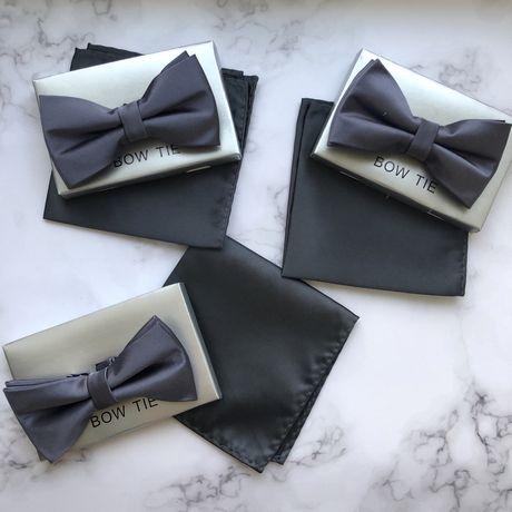 3 шт набор синие серые атласные мужские бабочка и платок для свпдьбы