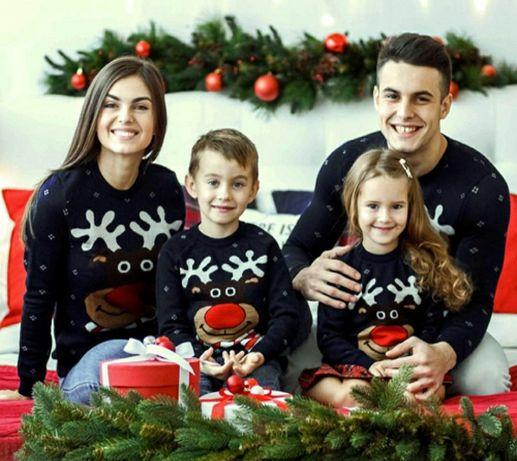 Свитера новогодние с оленями family look фэмили лук