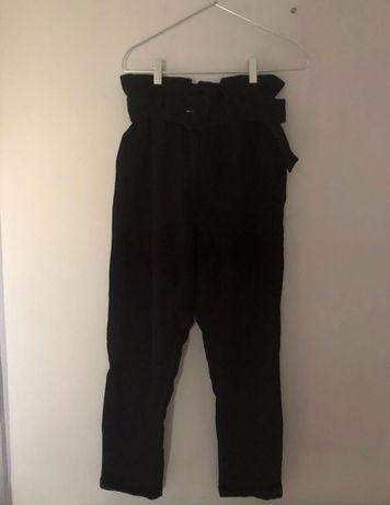 Spodnie paper bag czarne z wysokim stanem