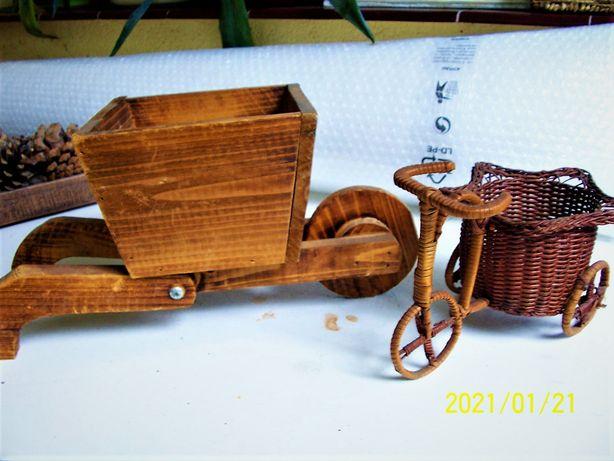 oslonki drewniane wintage zestaw
