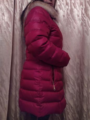 Стильное женское пальто пуховик с капюшоном Пух перо