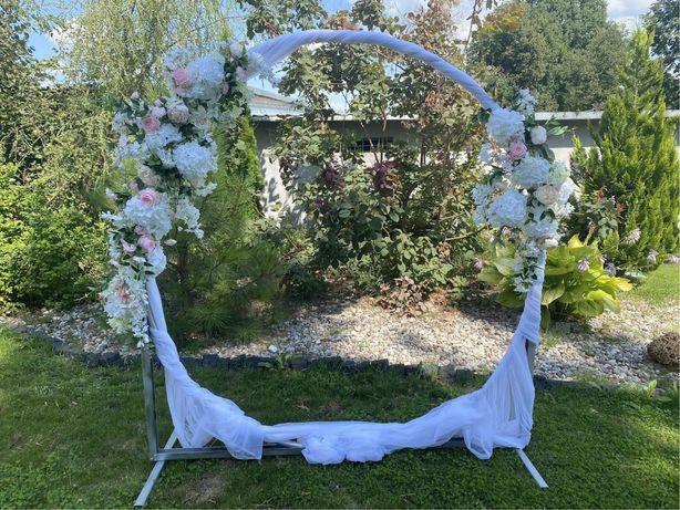 Ścianka weselna, stelaż, koło, plener