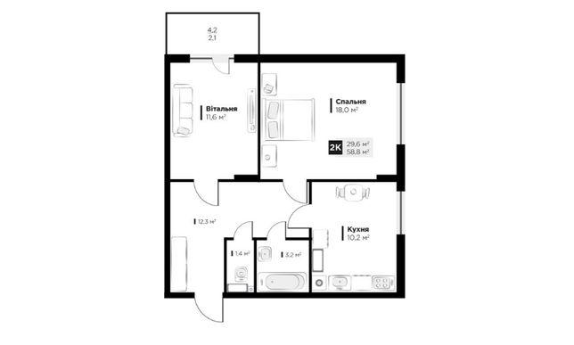 Продаж 2 кім. квартири в ЖК OBRIY3, Малоголосківська, площа 58 кв.м