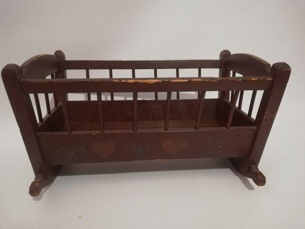 Stara kołyska drewniana dla lalki antyk