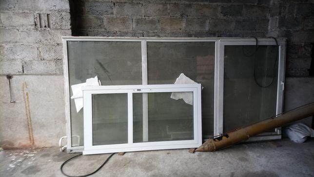 Dzwi -okno tarasowe plastikowe 410 cm x 200 cm dwu szybowe .