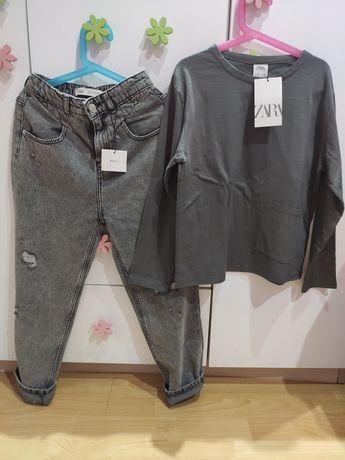 Zara nowy zestaw spodnie typu boyfrend+ bluzka 134/140