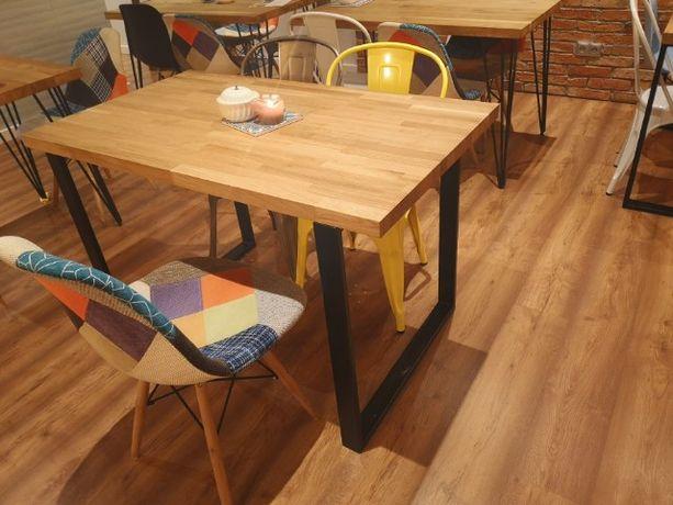 Industrialny stół dębowy 120x80 stolik nowoczesny modern skandynawski
