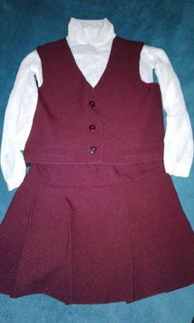 школьная форма-тройка бордового цвета,гольф в подарок