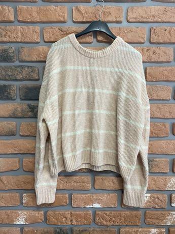 H&M pudrowy sweterek oversize M 38 L 40w paski