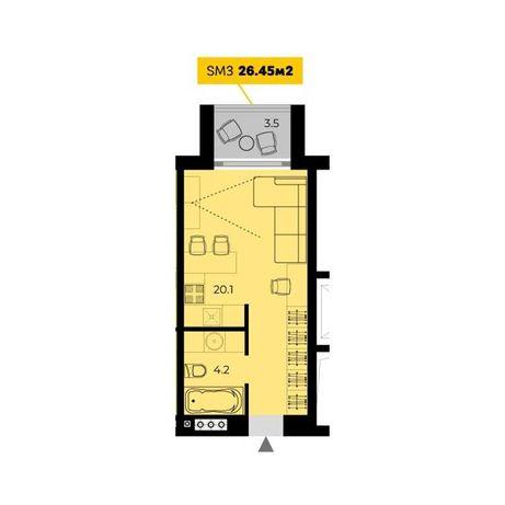 Старт продаж! 1 комнатная с балконом в жилом комплексе комфорт класса