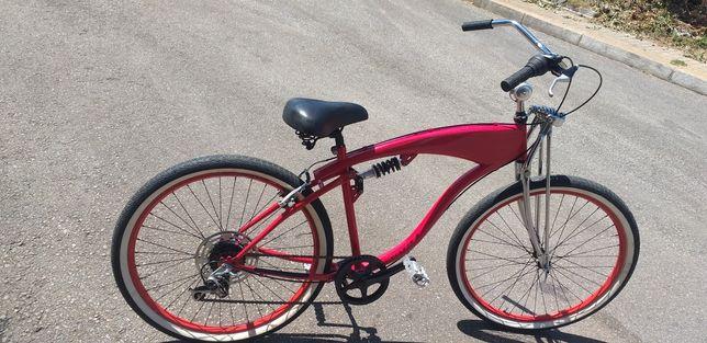 Bicicleta Beach Cruiser 6V forqueta de suspensão