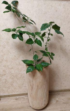 Новый большой напольный горшок кашпо вазон для цветов деревянный