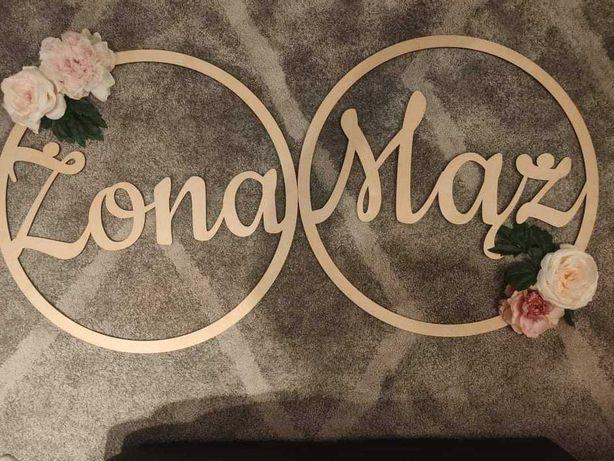 Dekoracje ślubne koła żona mąż tablice literki A & M konfetti