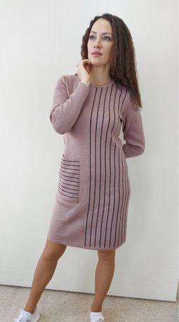 Вязанное трикотажное теплое платье размеры 46-48,50-52,54-56.