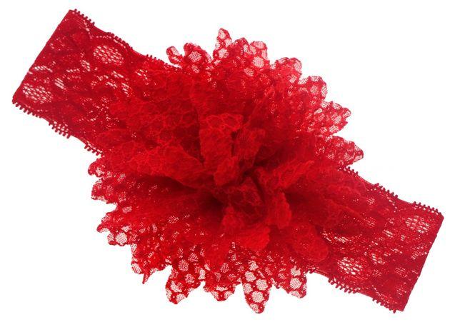 Opaska koronkowa z dużym kwiatem Czerwona Święta Nowa