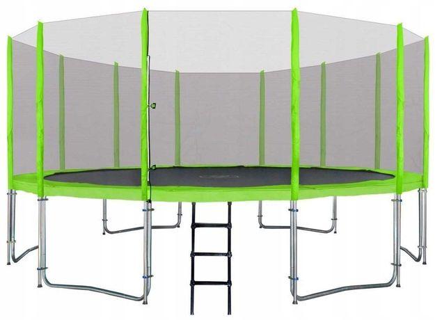 Батут aGa SPORT 490 см с сеткой зеленый с двойными ногами + лестница