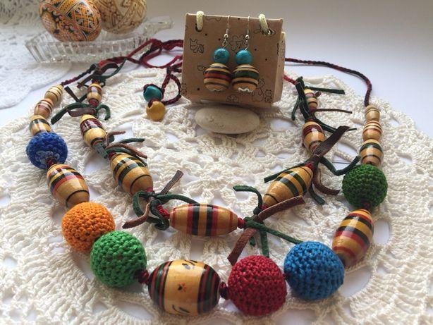 Плетене намисто зі шкіри та намистин етно
