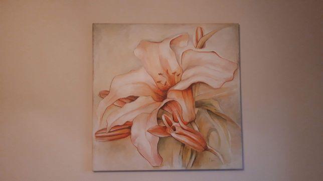 Obraz 80x80cm kwiat kwiaty na płótnie