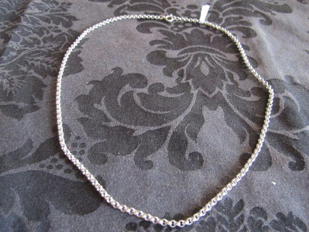 Fio em prata com malha de cordão . 56 cm. 17 g