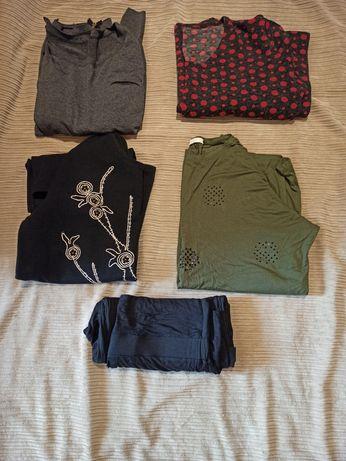 Paka ubrań ciążowych, sukienka, bluzki, spodnie rozm. XL