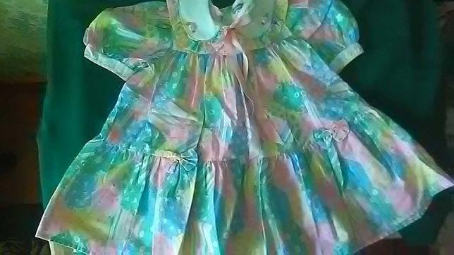 Нарядное хлопковое летнее платье на девочку 1,5-2 года