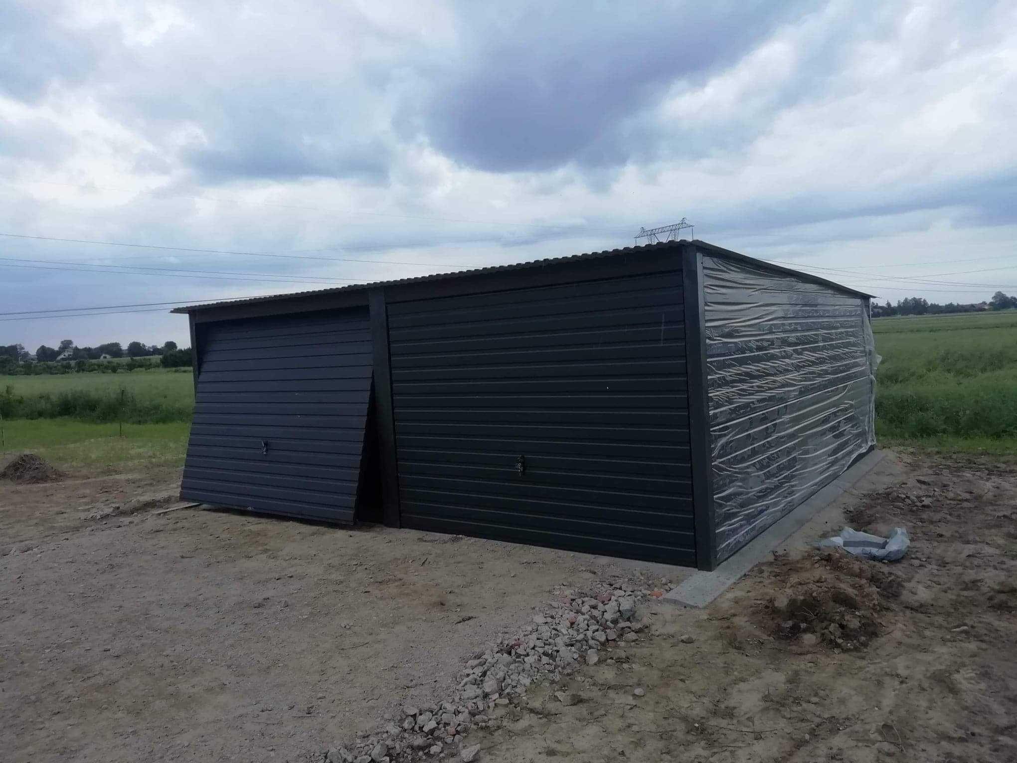 Garaże blaszane, garaż 6x5 ciemny grafit, blaszaki,wiaty,hale
