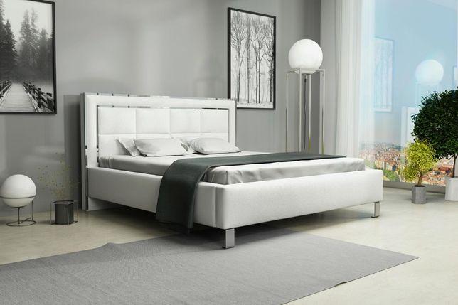Łóżko tapicerowane Panele Lustro Chrom