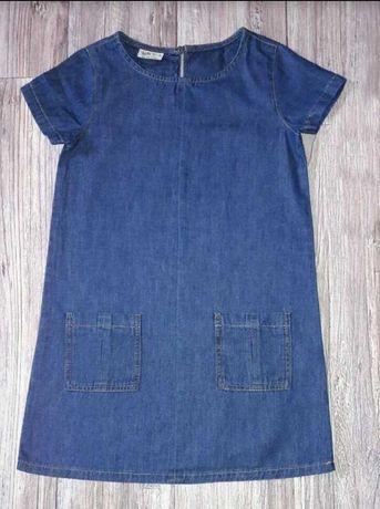 Стильное джинсовое платье сарафан на девочку 10-12 лет