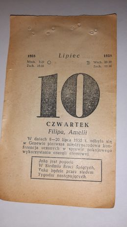 Kartka z kalendarza 1958, kalendarz 1958